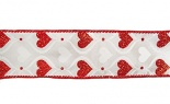 #9 Hourglass Hearts White Red Glit