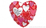 Foil I Love You Material Hearts Pk/5