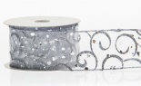 #40 We Sheer Silver W/silver Glit Swirls 20 Yd
