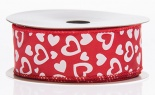 #9 We The Power Of Love Red Satin White Hearts 20 Yd