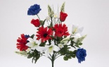 Rose Gerbera Lily Bush X18 Red White Blue